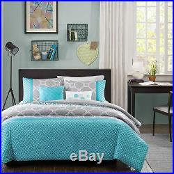 Modern Sporty Blue Grey Teal Aqua Stripe Boys Chevron Geometric Comforter Set