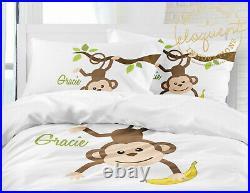 Monkey Bedding Set for Boys, Jungle Comforter, Zoo Safari Animals, Personalized