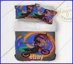 Motocross Bedding Set, Dirt Bike Comforter for Boys, Personalized Gift for Kids