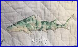 NEW! BOAT HOUSE For Kids SHARKS 3pc Twin QUILT SET White Blue Multi FISH COASTAL