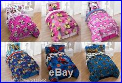 NEW KIDS BOYS GIRLS 4-PC Reversible Twin COMFORTER & SHEET SET + BONUS TOTE BAG