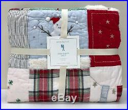NEW Pottery Barn KIDS Jolly Santa Patchwork TWIN Christmas QuiltRed Multi