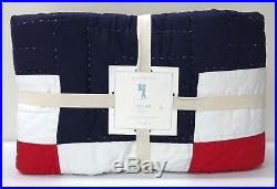 NEW Pottery Barn KIDS Logan Block TWIN Quilt, MultiBlue Red Yellow Green White