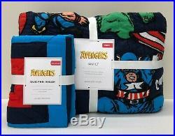 NEW Pottery Barn KIDS Marvel Avengers Superhero TWIN Quilt withSTANDARD Sham