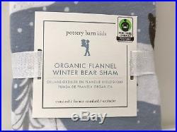 NEW Pottery Barn KIDS Organic Winter Bear TWIN Duvet Cover+Sheets+ShamFLANNEL