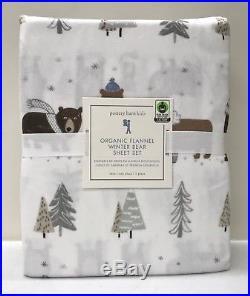 NEW Pottery Barn KIDS Organic Winter Bear TWIN Sheet SetBLUEFLANNEL