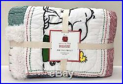NEW Pottery Barn KIDS Peanuts Snoopy Holiday Christmas TWIN Quilt