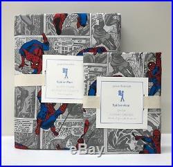 NEW Pottery Barn KIDS Spiderman Superhero TWIN Duvet Cover withSTANDARD Sham