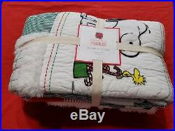 NEW Pottery Barn KIDS teen Peanuts Snoopy Holiday Christmas TWIN Quilt Woodstock