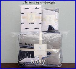 NEW Pottery Barn Kids 5-pc PATCHWORK SHARK Twin Quilt + Std Sham + Sheet Set NLA