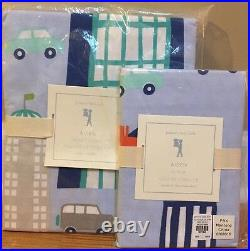 NEW Pottery Barn Kids Aiden Printed City TWIN Duvet + Sham BLUE