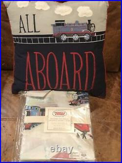 NEW Pottery Barn Kids All Aboard Thomas Train & Friends Pillow, Duvet Cover
