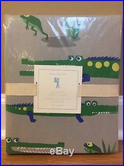 NEW Pottery Barn Kids Alligator TWIN Duvet Gator GRAY GREEN