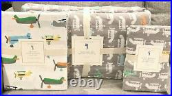 NEW Pottery Barn Kids Asher Airplane Wholecloth Twin Quilt Sham Sheet Set Planes