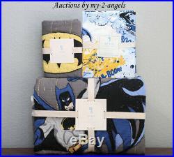 NEW Pottery Barn Kids BATMAN Twin Quilt + Std Sham + Sheet Set comic superheros