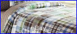 NEW Pottery Barn Kids Blue/Brown MADRAS Plaid Cotton Duvet Cover TWIN