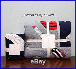 NEW Pottery Barn Kids COLTON ASTRONAUT Outer Space Rocket Twin Quilt + Euro Sham