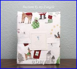 NEW Pottery Barn Kids Christmas NORTH POLE Santa Reindeer Flannel Twin Sheet Set