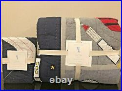 NEW Pottery Barn Kids Colton Astronaut Twin Quilt & Euro Sham Outer Space Rocket