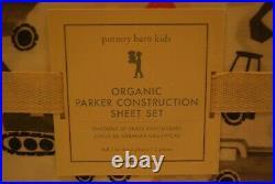 NEW Pottery Barn Kids FULL Organic Parker Construction Sheet Set Excavator Truck