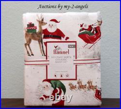NEW Pottery Barn Kids HERITAGE SANTA Organic Flannel Twin Sheet Set Christmas
