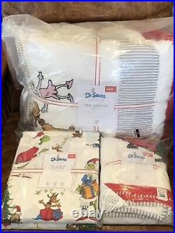 NEW Pottery Barn Kids Holiday Grinch Twin Quilt, Sham, Max Sheet Set, Christmas