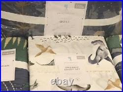 NEW Pottery Barn Kids Jurassic Full Quilt Standard Shams Sheet Set Dinosaur Dino