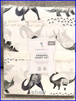 NEW Pottery Barn Kids Jurassic Twin Quilt Standard Sham Sheet Set Dinosaur Dino