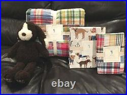 NEW Pottery Barn Kids Madras Twin Quilt, Sham, Salty Dog Sheet Set, Plush Puppy