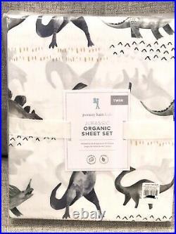 NEW Pottery Barn Kids Organic Jurassic Twin Size 3pc Sheet Set, Dinosaur, T-Rex