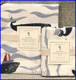 NEW Pottery Barn Kids Organic Nautical Whale Twin Duvet Cover & Sham, Sailboat