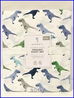 NEW Pottery Barn Kids Organic Warren Dino 3pc Twin Sheet Set, Dinosaur