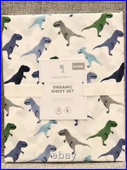NEW Pottery Barn Kids Organic Warren Dino 4pc Queen Sheet Set, Dinosaur