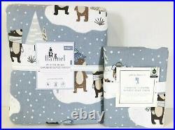 NEW Pottery Barn Kids Organic Winter Bear Flannel Twin Duvet & Sham, Holiday