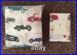 NEW Pottery Barn Kids Race Car Twin Sheet Set 2 Pillow Cases Truck FAST SHIPPING