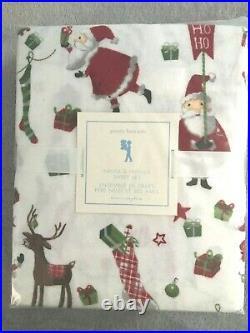 NEW Pottery Barn Kids SANTA & Friends Flannel TWIN Sheet Set RARE FIND