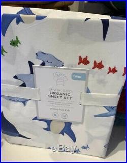 NEW Pottery Barn Kids SHARK BITE ORGANIC Twin Sheet Set