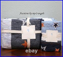 NEW Pottery Barn Kids STAR APPLIQUE Twin Quilt + Std Sham NAVY BLUE ORANGE WHITE