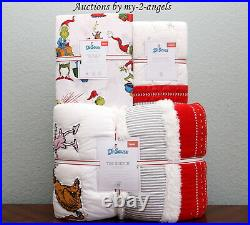 NEW Pottery Barn Kids THE GRINCH Twin Quilt + Sham + Sheet Set christmas and max