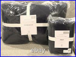 NEW Pottery Barn Kids Teen Super Soft Sherpa Comforter Twin Quilt & Sham, Navy