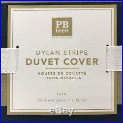 NEW Pottery Barn TEEN Dylan Stripe TWIN XL-TWIN Duvet CoverNAVY BLUE/KHAKI