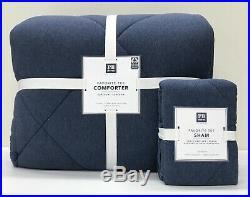 NEW Pottery Barn TEEN Favorite Tee TWINTWIN XL Comforter withShamHeathered Navy