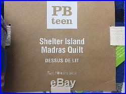 NEW Pottery Barn TEEN Shelter Island Madras Plaid TWIN Quilt withSTANDARD Sham