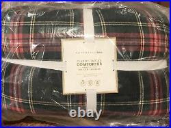 NEW Pottery Barn Teen Classic Tartan Plaid Sherpa Twin Comforter Quilt, Navy