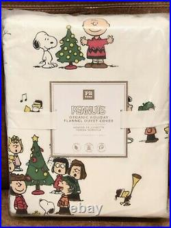 NEW Pottery Barn Teen Flannel Peanuts Twin Duvet Cover, Christmas, Snoopy, Kids