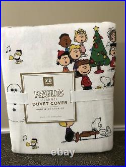 NEW Pottery Barn Teen Flannel Peanuts Twin Duvet Cover Christmas Tree Snoopy