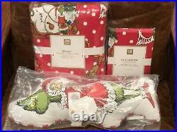 NEW Pottery Barn Teen Grinch Festive Flannel Twin Duvet Cover & Sham + Pillow