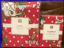 NEW Pottery Barn Teen Grinch Festive Flannel Twin Duvet Cover and Sham, Red