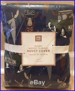 NEW Pottery Barn Teen Merry Moose Flannel TWIN Duvet + STANDARD Sham BLUE