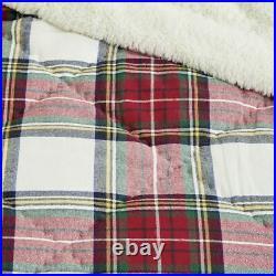 NEW Pottery Barn Teen Morgan Plaid Sherpa XL Twin Comforter Quilt & Sham, Red